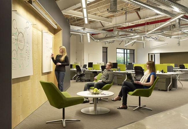 Skype Palo Alto Office Design by Blitz - do enjoy a good bit of exposed duct work!