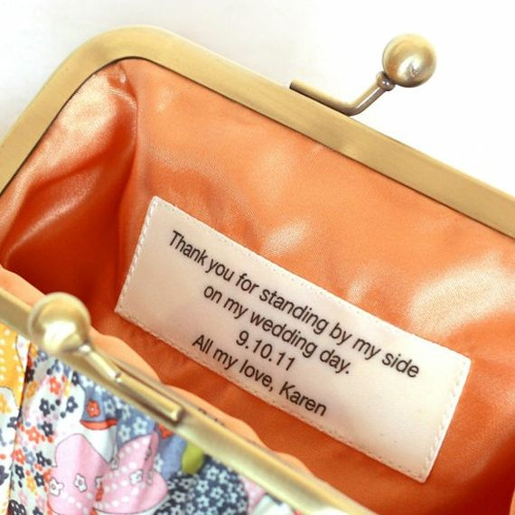 I think I'm more excited about making presents for my bridesmaids than I am anything else! This is a cool idea for a tag inside the bridesmaid dress I make them :-)
