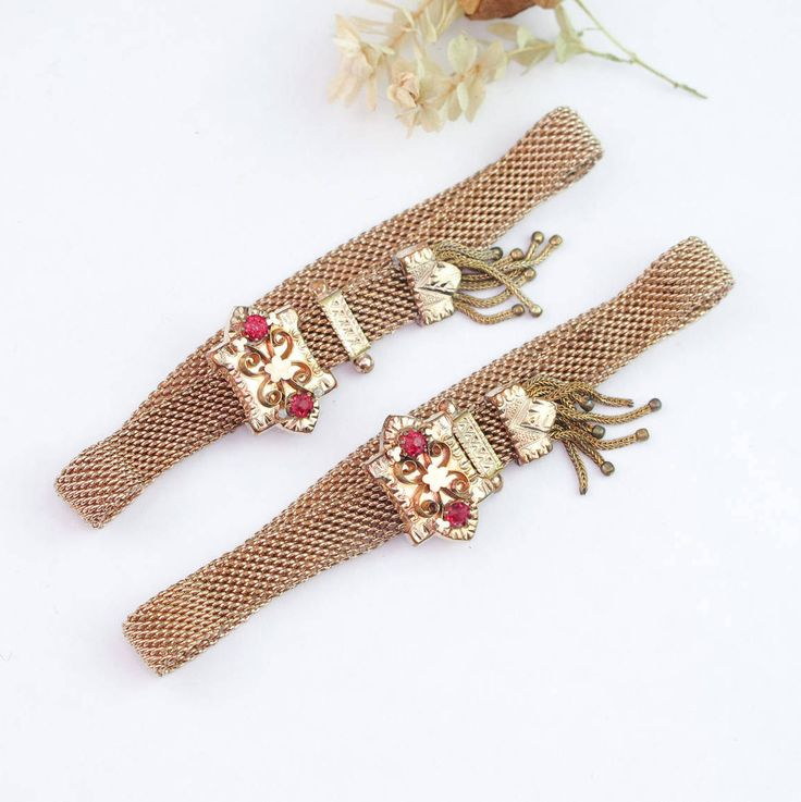 Antique 10k Gold Victorian Mesh Bracelet Set   Victorian 10k Gold Bracelet   Antique Victorian Wedding Bracelet   Antique Mesh Bracelet