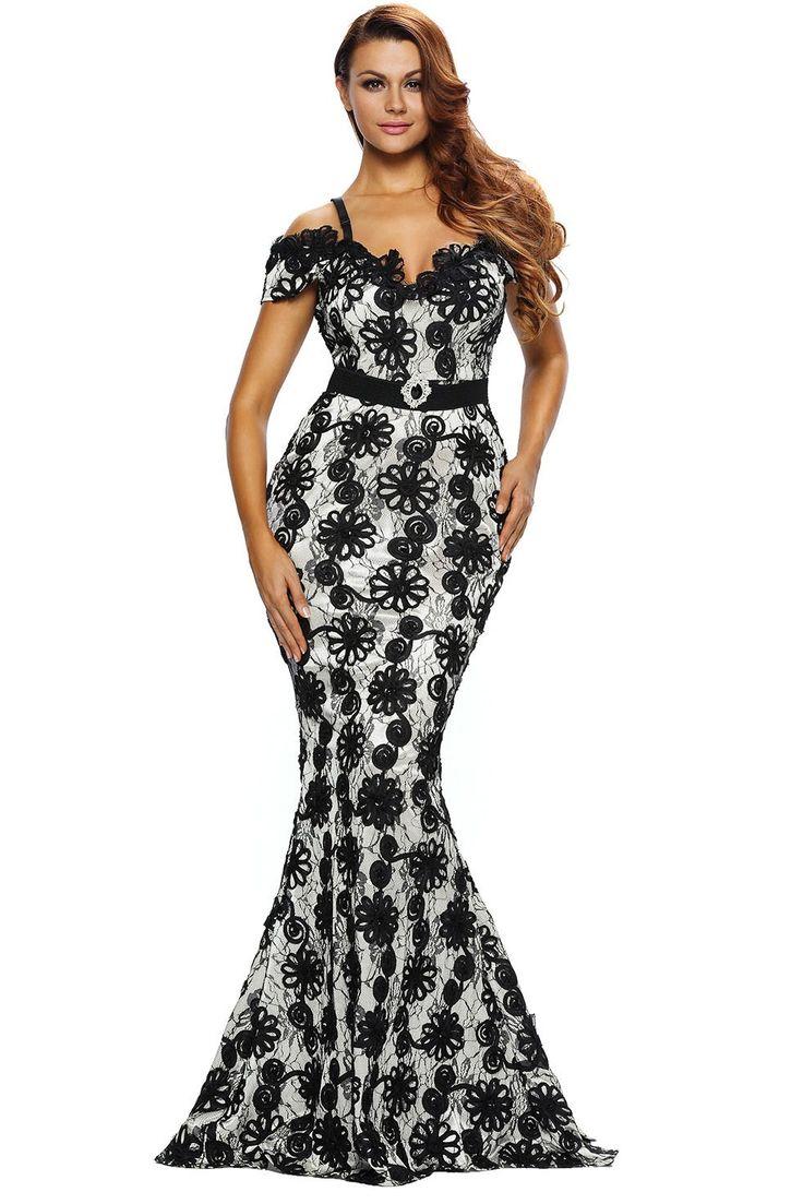 Robes de Soiree Longue Courroie de Spaghetti Noir Crochet Pas Cher www.modebuy.com @Modebuy #Modebuy #Noir #sexy #me #Noir