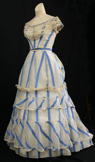 striped organdy summer evening dress dating to 1867. - I can just see a lady going for an evening walk with the gentleman who is courting her :)  #vintage #gown #dress