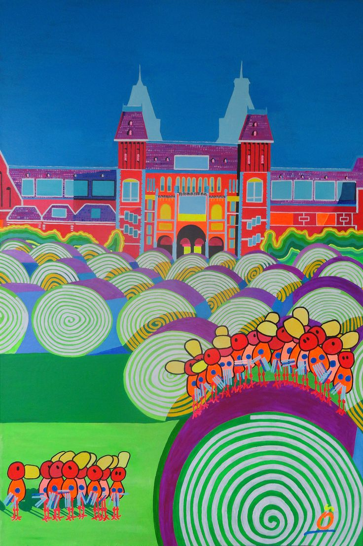 GRASS ROLLS EXPOSITION. The worldfamous museumsquare in Amsterdam changes his lawn every year. Which is a happy eyeopener for everyone outside the museums. #amsterdam, #museumsquare, #rijksmuseum, #vangogh. 31.5 - 47.2 Inch (80- 120-cm) | Acrylic on Heavy Cotton.  More info: jos@nosybirds.com