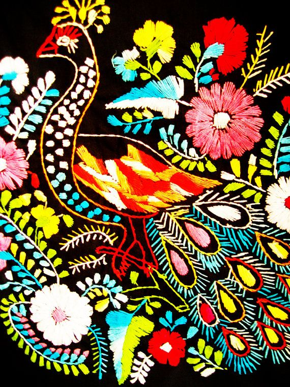 Peacock embroidery handmade bordado Mexicano