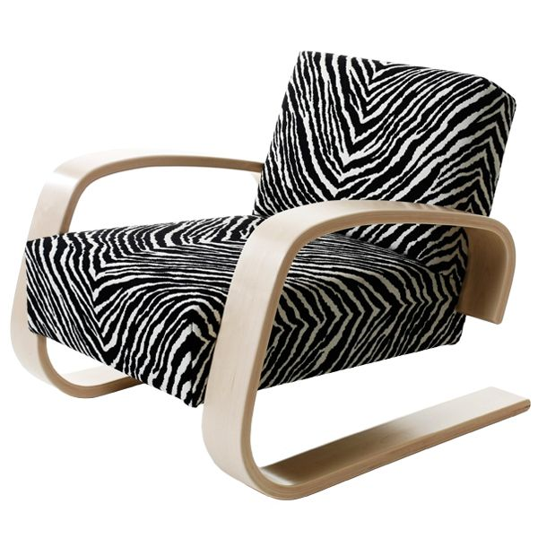 Aalto 400 Tank chair with a zebra fabric by Artek. Design by Alvar Aalto.