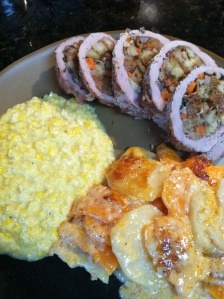 Apple Bacon Stuffed Pork Tenderloin with Russet and Sweet Potato Gratin and Sweet Creamed Corn...yum!