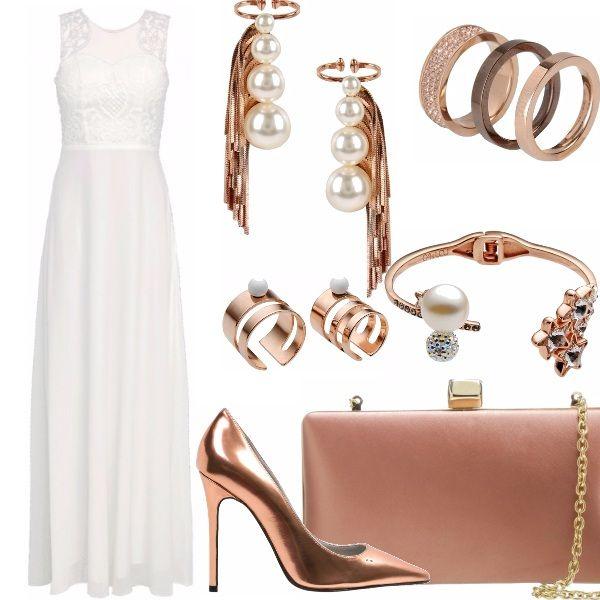 """Punto agli accessori per questo abito lungo bianco con drappeggio e trasparenze, décolleté laminate e clutch in raso, sempre in questa tonalità di """"oro"""" rosa gli accessori che ho scelto la maggior parte griffati ma davvero di grande resa. Non trovate anche voi?"""