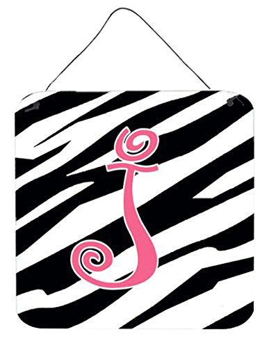 "Caroline's Treasures Letter J Initial Zebra Stripe and Pink Wall or Door Hanging Prints, 6 x 6"", Multicolor"