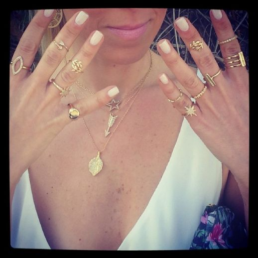 Make a big statement with a dozen-plus little nothings on fingers, neck, ears, and wrists.