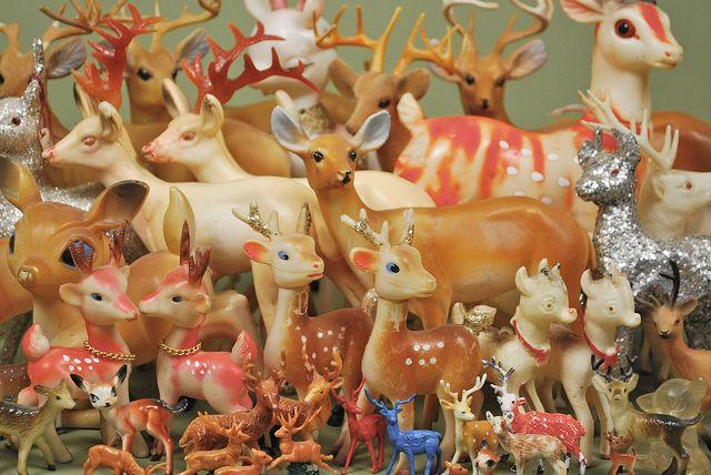vintage plastic reindeer decor