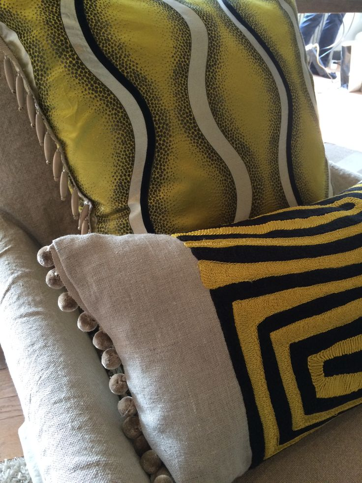 Spring 2015 Cushions made from Larsen fabrics and trimmings from Houles @ Spring event Loggere Wilpower. www.fa-interiors.nl