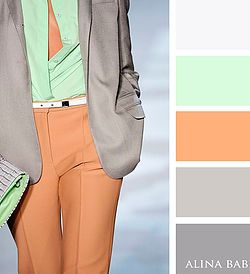 Orange, green and grey