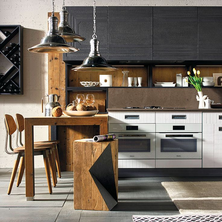 Marchi Cucine: modern industrial-style kitchen, corner kitchen with a breakfast bar