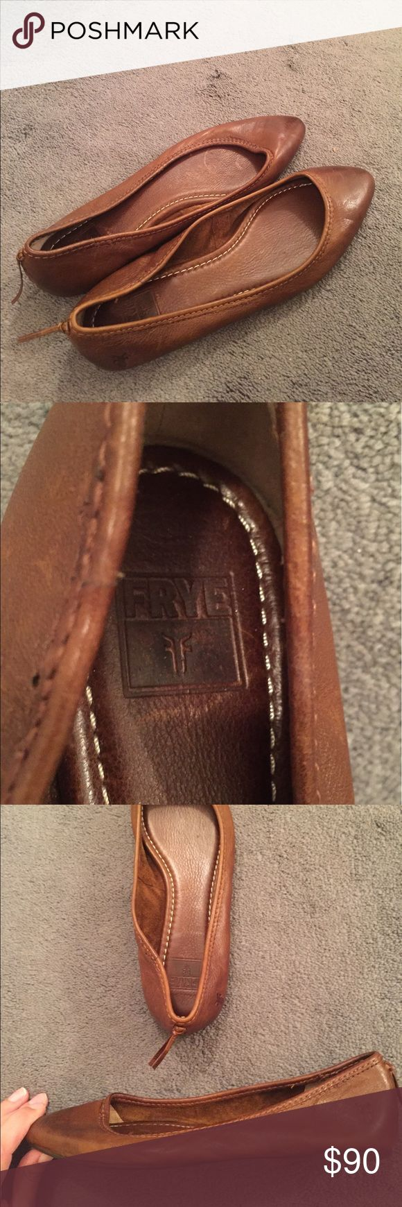 Frye Flats Usually the Frye company makes boots, but these are perfect for summer! They are leather with cute stitching details, and mini tassels on the back. I believe these have been worn once, but they came with the worn-out look. These do fit pretty narrow, and can fit a size 7.5 or 8. Offers welcome! Frye Shoes Flats & Loafers