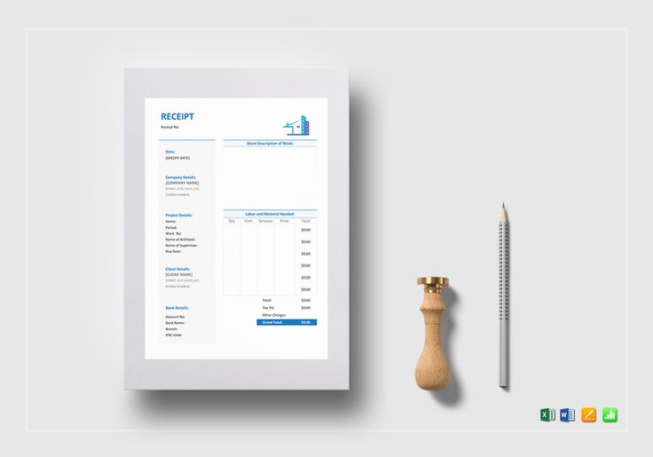 Sample Construction Receipt Template  $12  Formats Included : MS Excel, MS Word, Pages, Numbers File Size : 8.27x11.69 Inchs, 8.5x11 Inchs  #SampleConstructionReceipt #Documents #Documentdesigns #Invoicedesigns #InvoiceTemplates