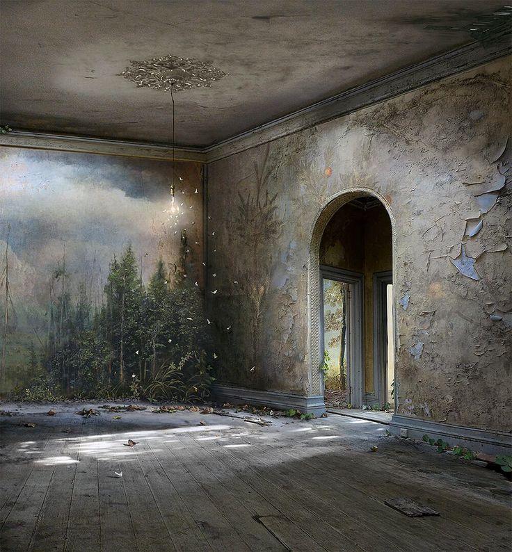 Umelkyňa Suzanne Moxhay sa venuje vskutku zaujímavej umeleckej činnosti. Kombinuje vlastné fotografie a obrázky z archívov, ktoré dlho zbierala a následne vytvára koláž pomocou filmovej techniky z 20. storočia. V tomto procese je pozadie ilustrované na sklenených paneloch, čo z nich vytvára akési živé scény. Pomocou ilúzie tak vzniká pocit, že pozadie a obrázok vnútri …