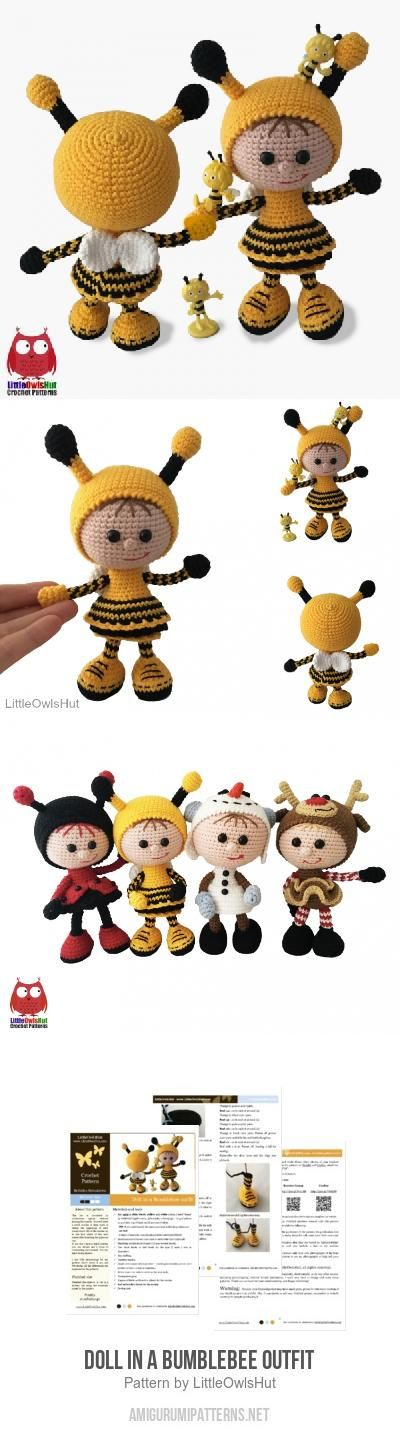Doll In A Bumblebee Outfit Amigurumi Pattern