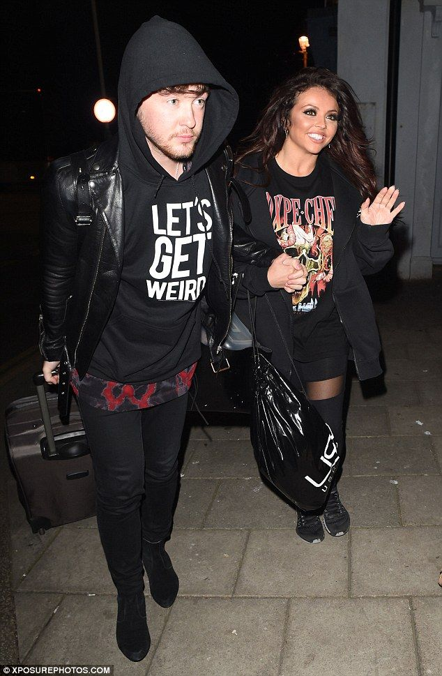 Showing his support: Jesy, 24, was accompanied by her fiance Jake Roche - of Rixton fame -...