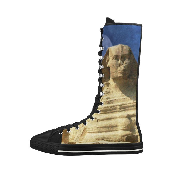 Sphinx and Pyramid Canvas Long Boots For Women Model 7013H
