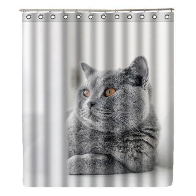 Wonzom Cat Shower Curtain Waterproof Wolf Bathroom Curtain Modern Animal Frog Bath Curtain With 12 Hooks Accessories Home Decor Review Cat Shower Curtain Bathroom Curtains Shower Curtain