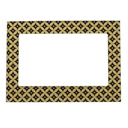 Elegant Black and Gold Circle Polka Dots Pattern Magnetic Frame - trendy gifts cool gift ideas customize