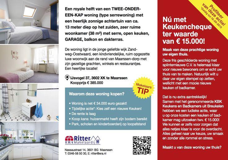 * Tijdelijk met keukencheque t.w.v. € 15.000,=    Deze fris geschilderde woning met splinternieuwe C.V.-ketel is helemaal klaar voor de nieuwe bewoners om er echt uw thuis van te maken. Natuurlijk wilt u daar uw eigen stempel op zetten, wellicht met een mooie nieuwe keuken of badkamer. Nu kunt u zelf een nieuwe keuken of badkamer t.w.v. € 15.000,= uitzoeken! Meer informatie leest u in de brochure of neem contact op met ons kantoor.