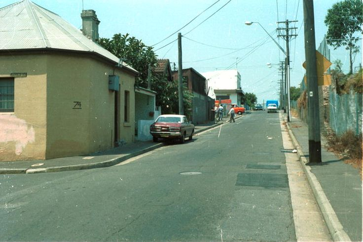 1983. Angel Street, looking south towards King, with Harold Street on the left.