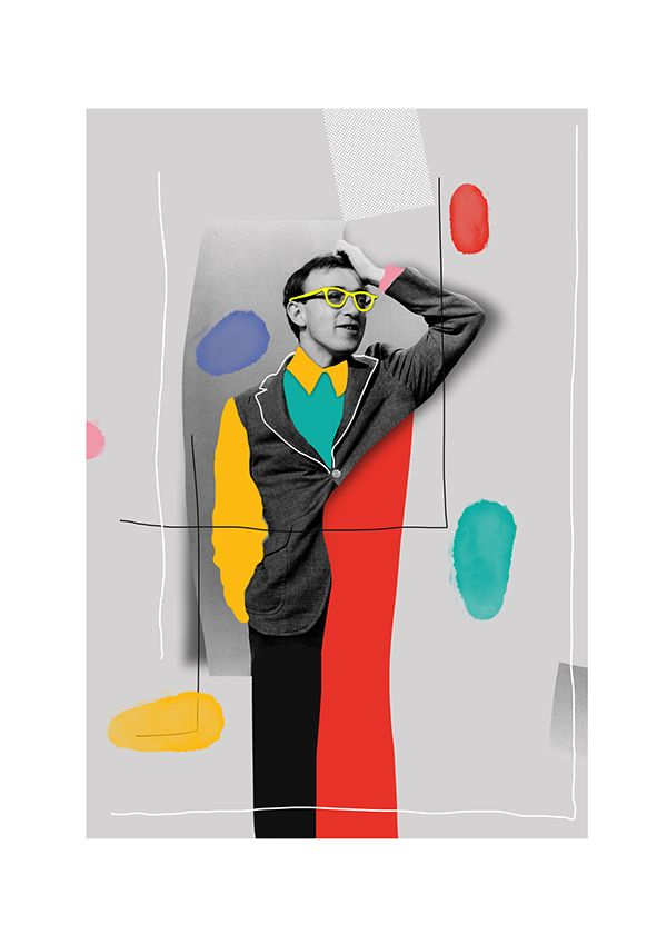 """Midnight in Woody Allen's color with his neon eyeglasses. Woody Allen Portrait"", (2016), New GraphicArt Illustration Poster by Selman Hoşgör (b. 1987, Turkish)"
