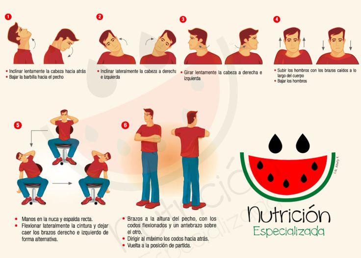 Nutrición Especializada te comparte unos ejercicios de estiramiento que fácilmente podemos realizar en la oficina.  Nos mantendrán mucho mas relajados y evitaremos esos molestos dolores de espalda o cuello después de largas horas frente a la computadora.