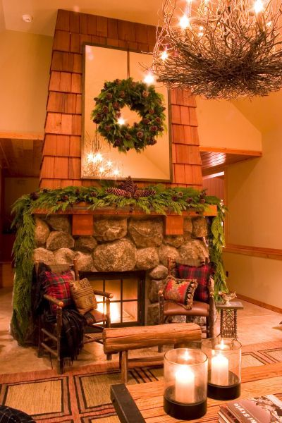 another image of the great room fireplace.
