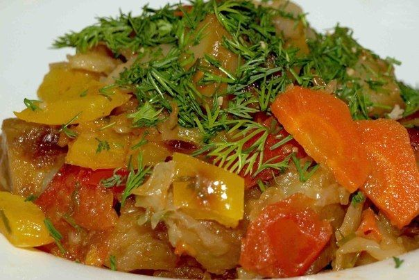Vegetable stew with bell peppers, tomatoes, potatoes