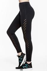 From running to yoga, this design's striped mesh panelling ensures that you stay cool and ventilated throughout your entire workout.  Functional details like moisture wicking, 4-way stretch and a stash pocket make these bottoms the ultimate active style for any activity.    Stylist's Notes:  Pair these leggings with one of our mesh accented bra's for a head to toe look.