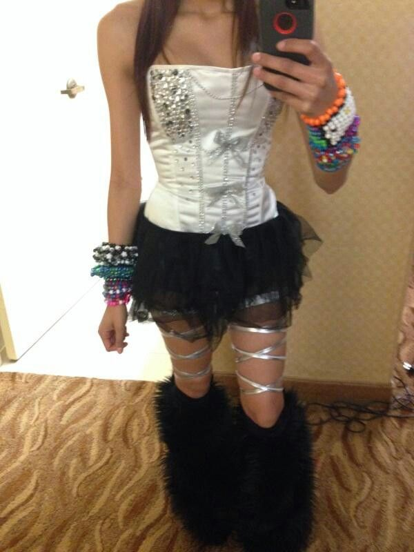 So cute! Except I would do fishnets, not leg wraps, and I would probably do a bra or crop too instead.