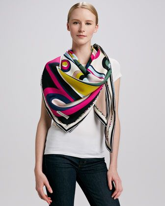 Circle Strips Timeless Silk Scarf, Fuchsia/Multicolor by Emilio Pucci at Neiman Marcus.