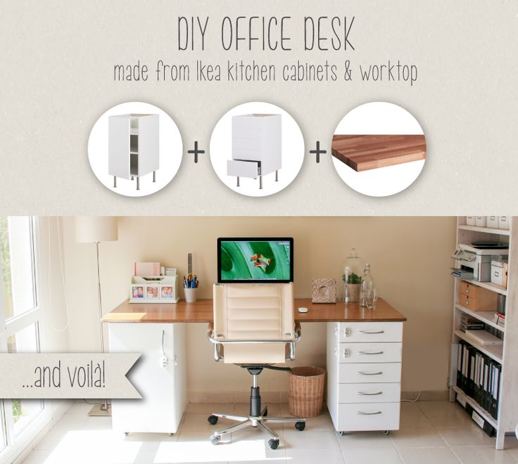 kitchen office desk. this diy office desk is supersturdy built from ikea kitchen parts diy desks and
