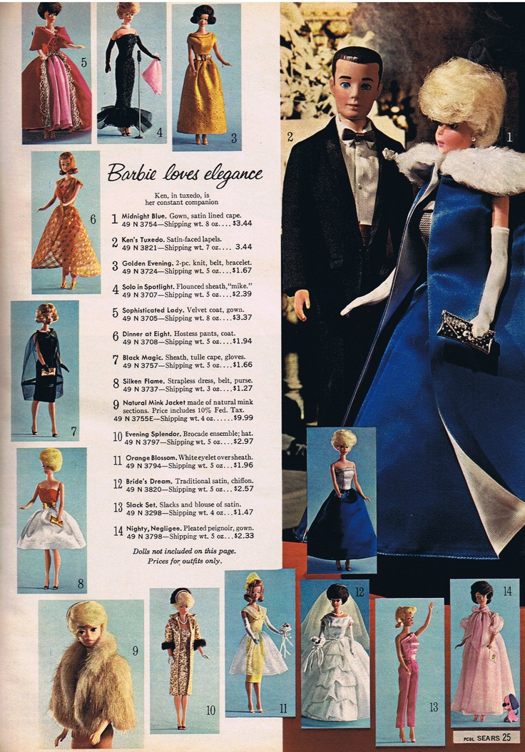 "Barbie dolls from the 1964 Sears Christmas catalog, Il vestito era ""Mezzanotte blu!"", ce l'ho"
