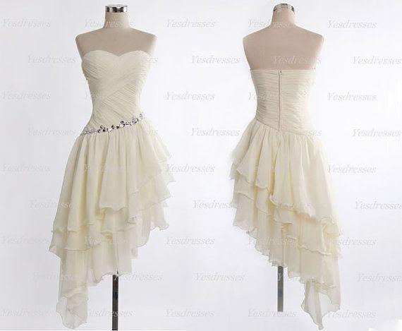 ivory prom dresses mismatch prom dresses short prom by Yesdresses, $129.00