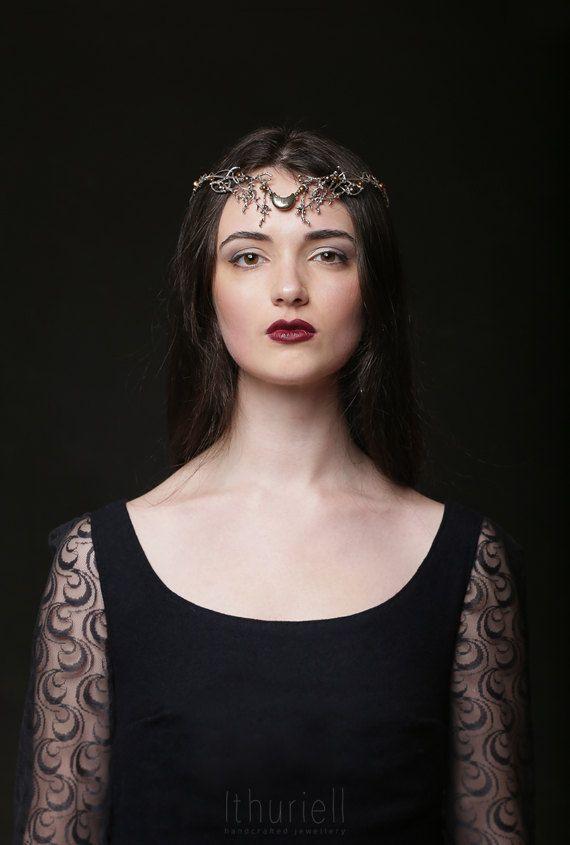 High Priestess  moon crown pearl silver tiara elven