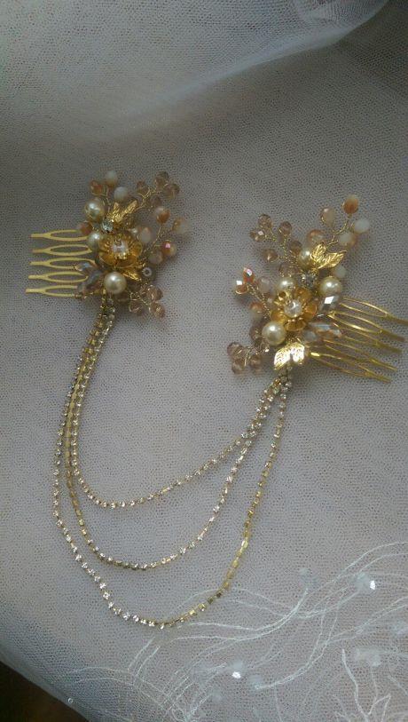 Двойной гребень для волос с цепочками. Свадебные цепочки.