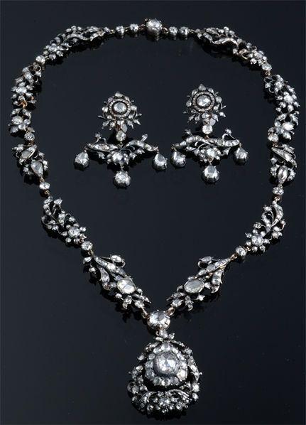 Dutch 1830's Rose Cut Diamond Necklace & Earring Set ~ M.S. Rau Antiques