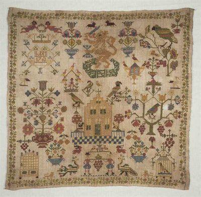 """Merklap gewerkt in kruissteek met gekleurd zijde op los geweven crèmekleurig linnen, """"IVDM / 1762"""""""