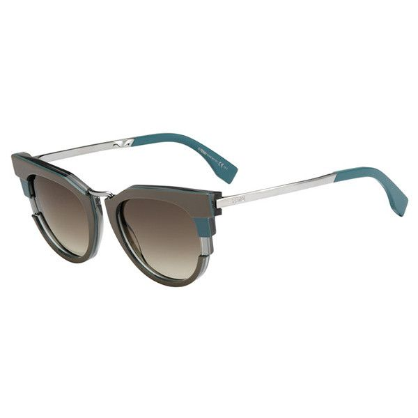 Fendi FF 0063/S METROPOLIS MUR/DB Sunglasses (€240) ❤ liked on Polyvore featuring accessories, eyewear, sunglasses, fendi glasses, lens glasses, fendi sunglasses, fendi eyewear and green lens glasses
