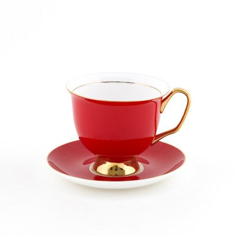 The #Big #Red #375mL #XL #Teacup and #Saucer #Set | The #bigger, #better, teacup! Get yours today at #lyndalt.com