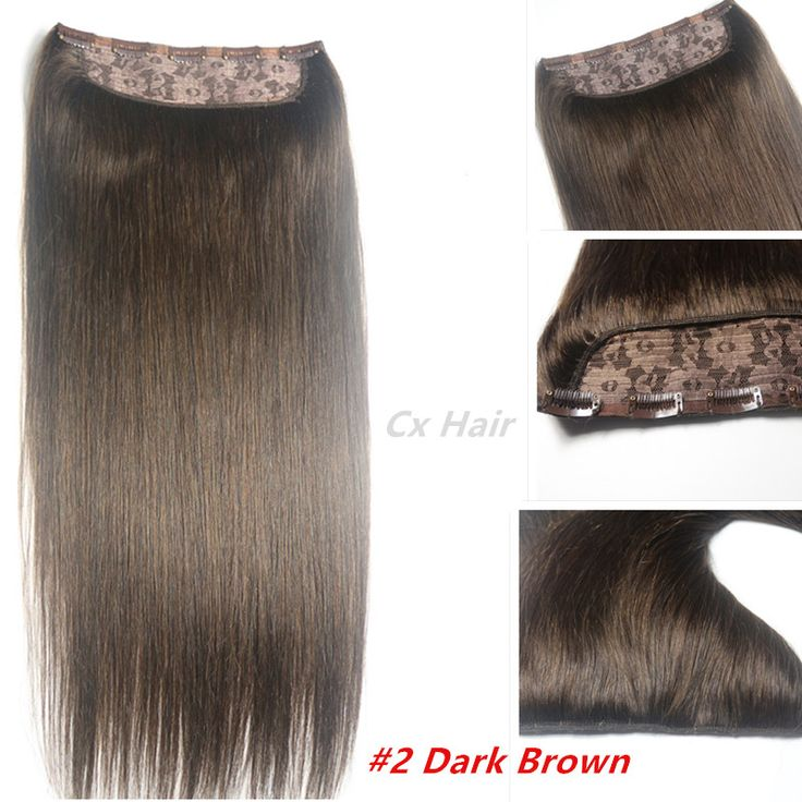 #2 Dark brwon  Full Head 1pcs full head set  Brazilian Virgin remy human hair extensions clips in/on 26 colors available