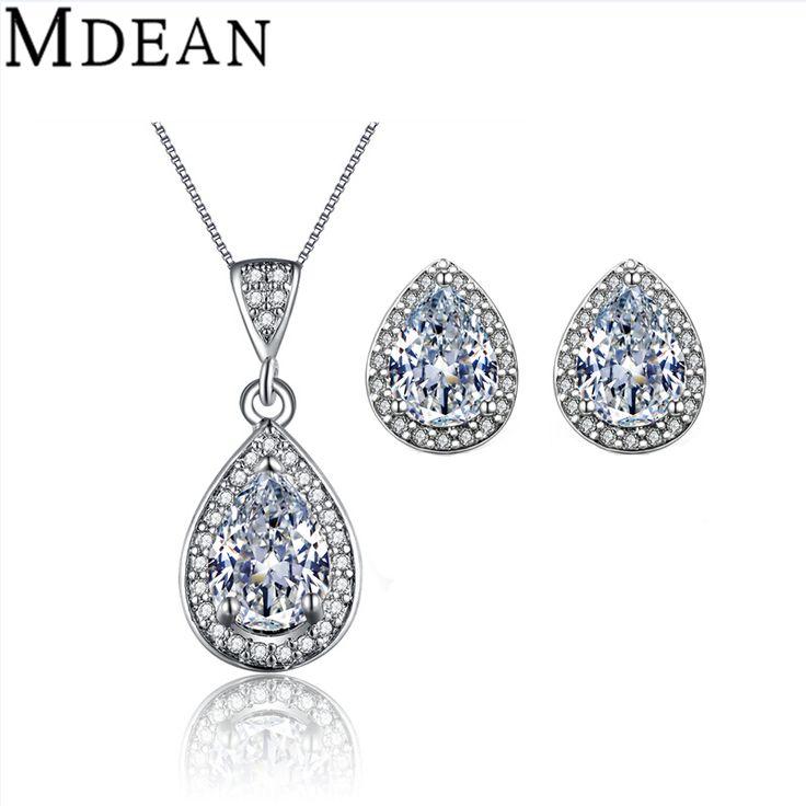 MDEAN Conjuntos de Jóias de Casamento Branco banhado a ouro AAA Zircon Engagement Brinco + Pingente de acessórios de moda