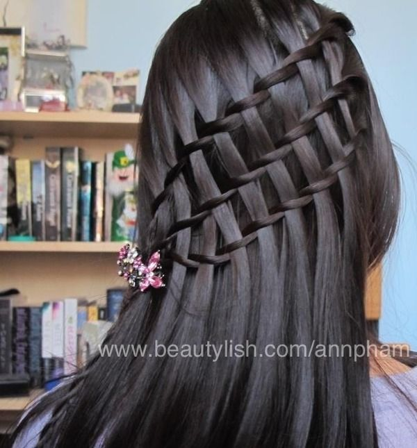Two-strand waterfall braid three times in a row