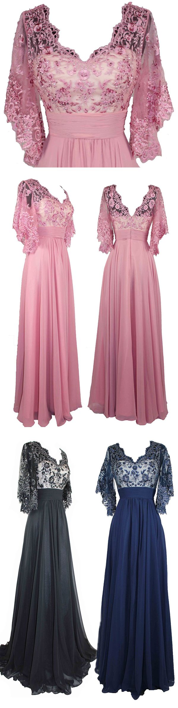 Exquisite V Neck Ruffle Sleeve Chiffon Long Prom Dress With Embroidery #prom #evening #party #dress