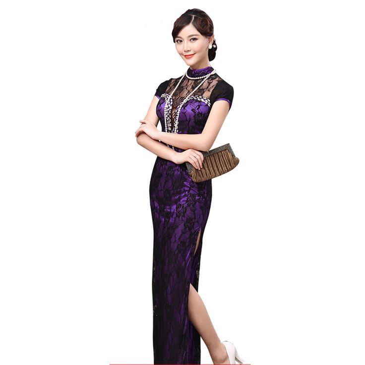 Gorgeous Modern Lace Long Cheongsam Dress - Purple - Qipao Cheongsam & Dresses - Women