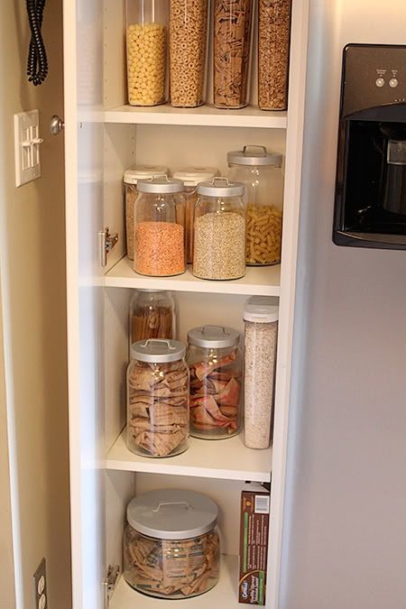 i <3 organization.Ideas, Clear Jars, Kitchens Organic, Extra Storage, Food Storage, I M Jealous, Pantries Organic, Kitchens Cabinets Organic, Mason Jars