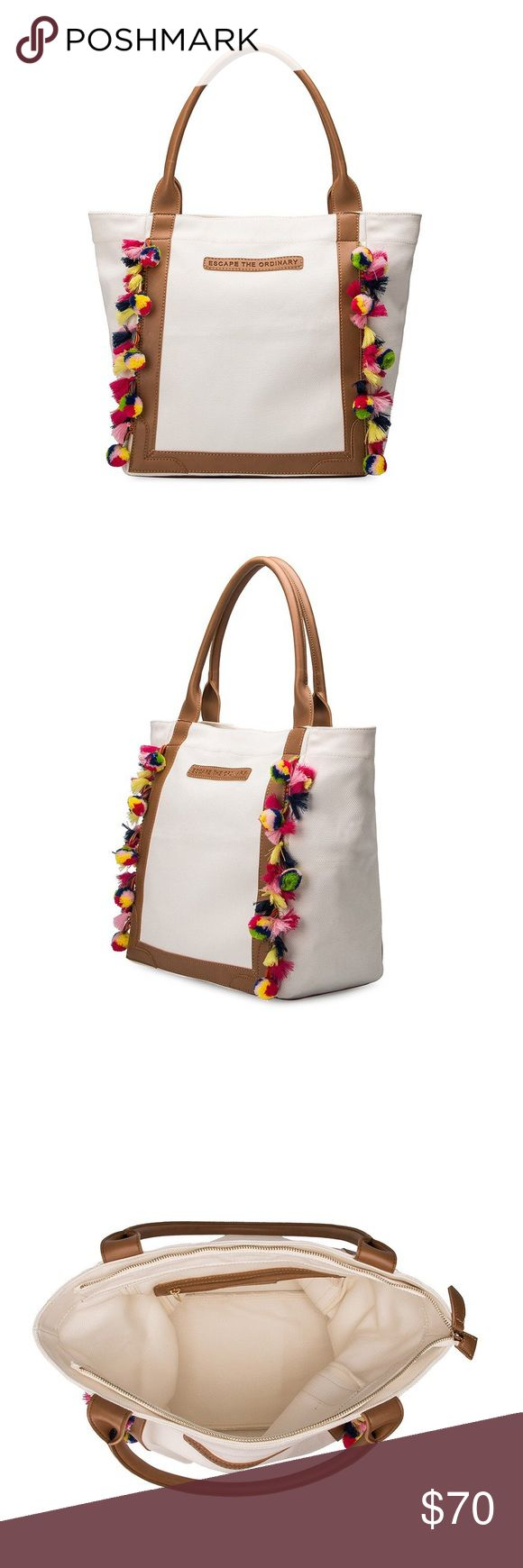 "Riviera Tote - Melie Bianco Premium Vegan Leather Handle and Frame Canvas Exterior/Interior Middle Zipper Closure Embossed ""Escape the Ordinary Interior Zipper Dimensions: 17.'L x 7'W x 12.5H' One Size/One Color Melie Bianco Bags Totes"