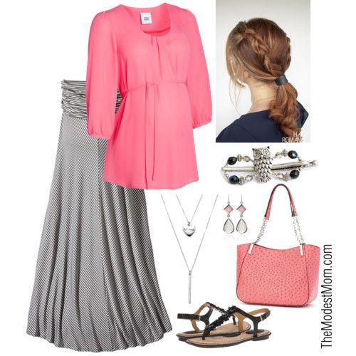 Maternity in Coral - A lovely spring and summer maternity outfit! #modestmom